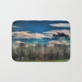 Watercolor Foggy Woodlands Bath Mat