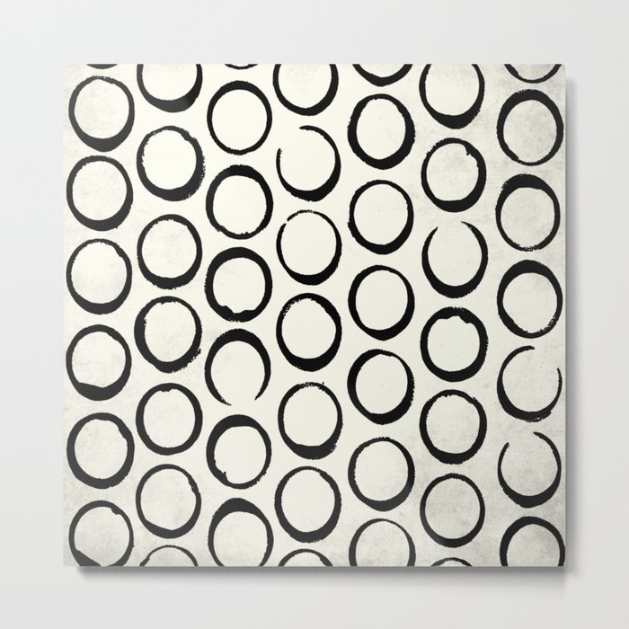 Polka Dots Circles Tribal Black and White Metal Print