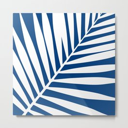 palm leaf blue and white Metal Print
