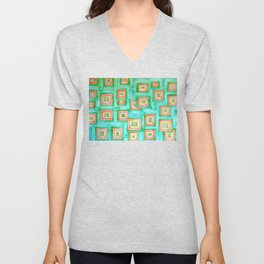Multicolored Squares on Green Pattern  Unisex V-Neck