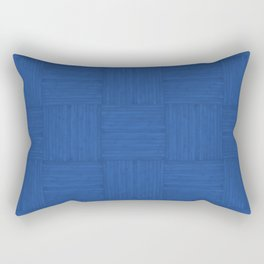 Sapphire Blue Faux Bois Wood Pattern Rectangular Pillow