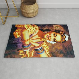 Jesus Helguera Painting of a Mexican Calendar Girl with Bangles Rug
