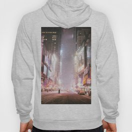 New York City Colorful Snowy Night in Times Square Hoody