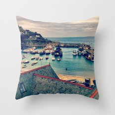 Grey Clouds Above The Ferocious Water  Throw Pillow