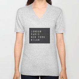 London, Paris, New York, Milan Unisex V-Neck