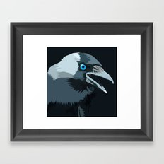 Corvus monedula has a stinking attitude Framed Art Print