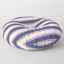 Nautical Red and Blue Stripes Floor Pillow