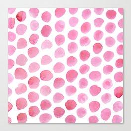 Pink Polka Dot Watercolour Canvas Print