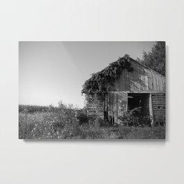 Abandoned Barn Garden (Black & White Photography) Metal Print