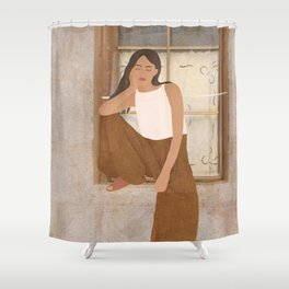 Girl sitting on the window Shower Curtain