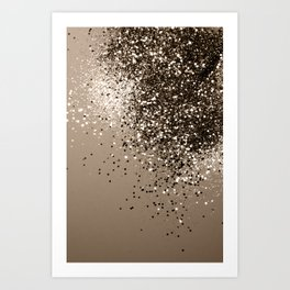 Sparkling Sepia Lady Glitter #1 #shiny #decor #art #society6 Art Print
