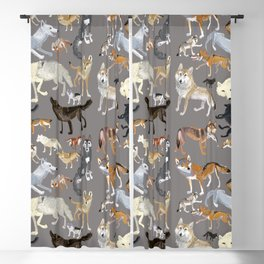 Wolves of the World Grey Blackout Curtain