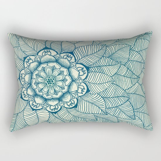 Emerald Green, Navy & Cream Floral & Leaf doodle Rectangular Pillow