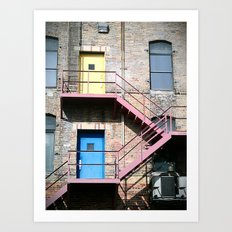 1 Door, 2 Door, Yellow Door, Blue Door Art Print