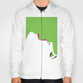 image of a woman's face green white Hoody