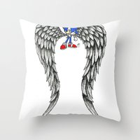 sonic Throw Pillows featuring Sonic Angel by Hollie B