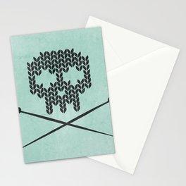Knitted Skull / Knitting with Attitude (black on vintage aquamarine) Stationery Cards