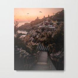 Sunrise at a Korean Temple in Busan, South Korea | Landscape Photography Metal Print