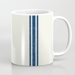 Vintage Country French Grainsack Blue Stripes Cream Background Kaffeebecher
