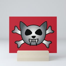 Vampire Kitty Cat Skull and Crossbones Mini Art Print
