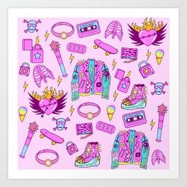 Pink Punk Girly Pattern Art Print