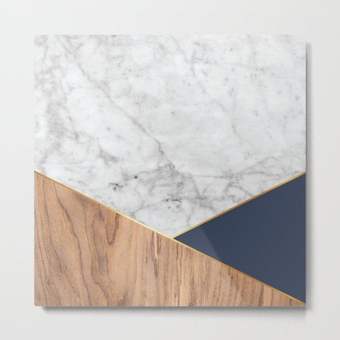 White Marble - Wood & Navy #599 Metal Print