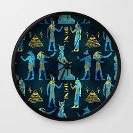 Egyptian  Gold and blue glass pattern Wall Clock