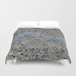 Map of London Thames Drawing Duvet Cover