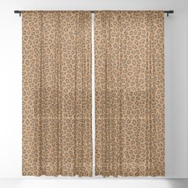 Dark leopard animal print Sheer Curtain