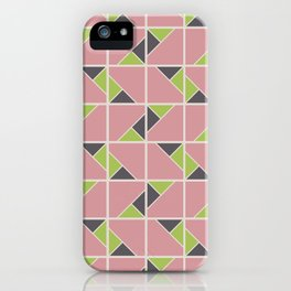 Retro Geometry surface pattern (Pink-green) iPhone Case