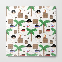 Seamless pirate colorful kids retro background pattern Metal Print