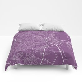 Fayetteville Map, USA - Purple Comforters