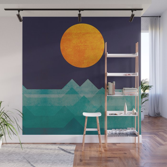 The ocean, the sea, the wave - night scene Wall Mural