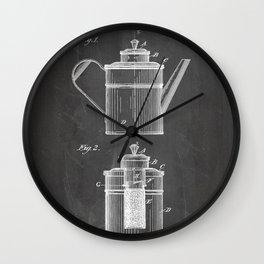 Coffee Patent - Coffee Shop Art - Black Chalkboard Wall Clock