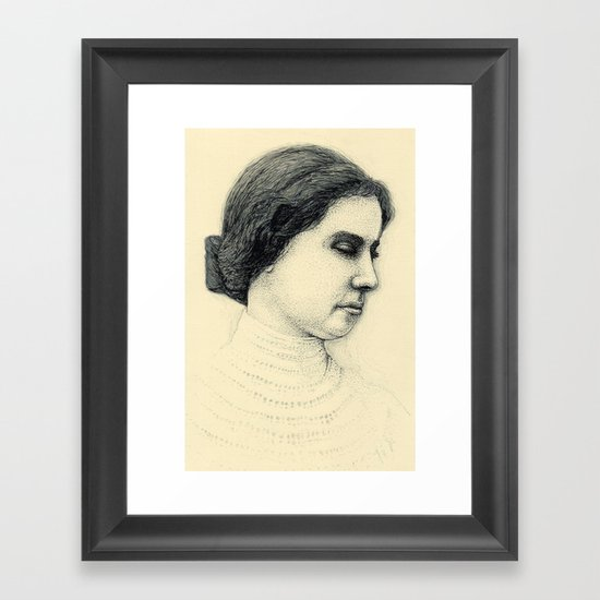 Hellen Keller in ink Framed Art Print