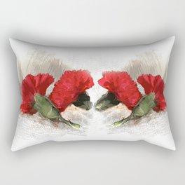 Red Carnations on Brocade Rectangular Pillow