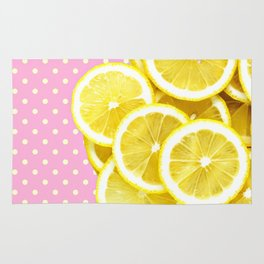 Candy Pink and Lemon Polka Dots Rug