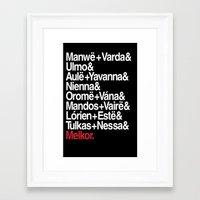 valar morghulis Framed Art Prints featuring The Valar by Theresa Lammon
