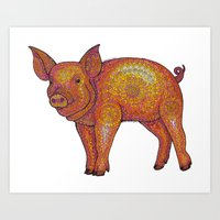piglet Art Prints featuring Patterned Piglet by Emilie Darlington