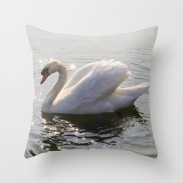 one swan a swimming Throw Pillow