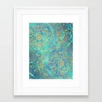 gold Framed Art Prints featuring Sapphire & Jade Stained Glass Mandalas by micklyn