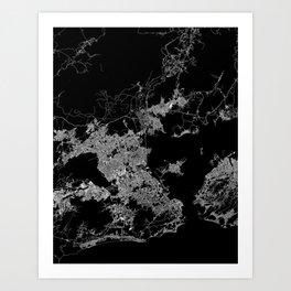 Rio map Brazil Art Print