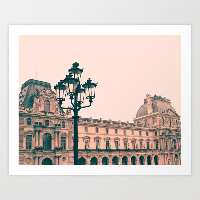 Pastel Pink Museum Building Art Print