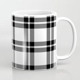 White #ffffff color themed plaid SCOTTISH TARTAN Checkered Fabric Pattern texture background Coffee Mug