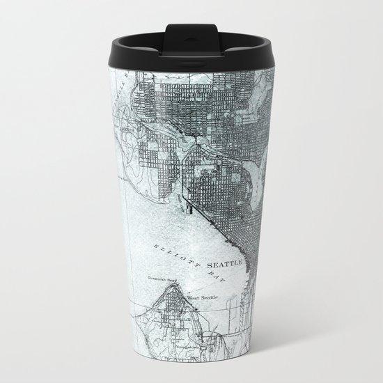 Vintage Seattle City Map Metal Travel Mug
