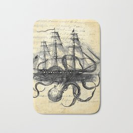 Kraken Octopus Attacking Ship Multi Collage Background Bath Mat