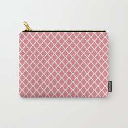 Modern Spring Pink and White Quatrefoil Pattern Carry-All Pouch