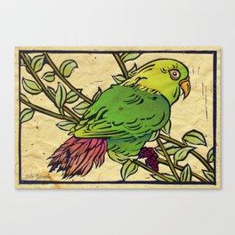 Parrot Linocut Canvas Print