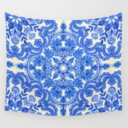 Cobalt Blue & China White Folk Art Pattern Wall Tapestry