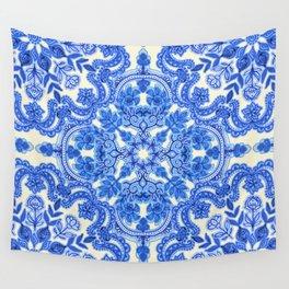 Cobalt Blue & China White Folk Art Pattern Wall Tapestry